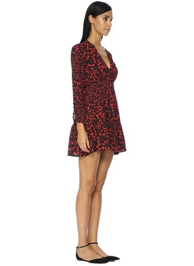 V Yaka Desenli Mini Elbise-Academia